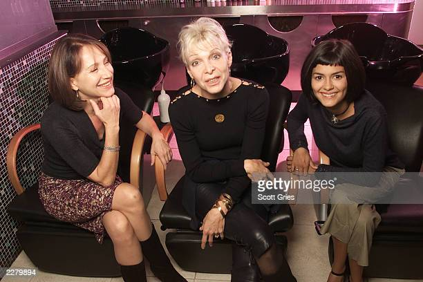 Nathalie Baye director Tonie Marshall and Audrey Tautou of Venus Beauty Institute at the Prive Salon in New York 10/16/00