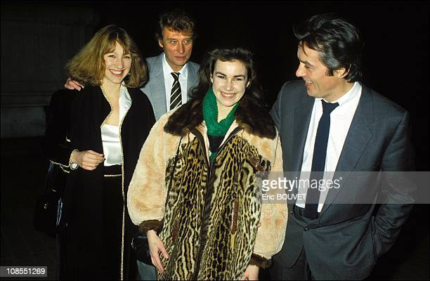 Nathalie Baye Johnny Hallyday Valerie Kaprisky Alain Delon in Paris France on February 15th 1984