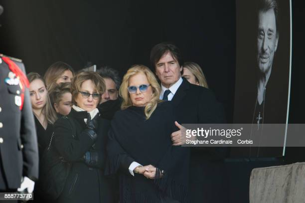 Nathalie Baye Sylvie Vartan and Tony Scotti during Johnny Hallyday's Funeral Procession at Eglise De La Madeleine on December 9 2017 in Paris France...