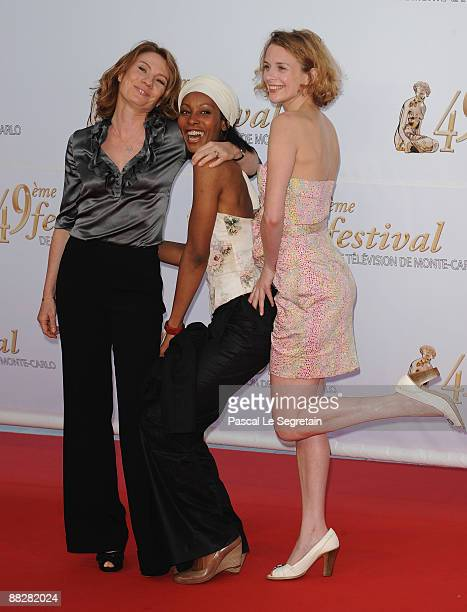 Nathalie Besancon Dorylia Calmel and Florence Hebbelynck attend the opening night of the 2009 Monte Carlo Television Festival held at Grimaldi Forum...