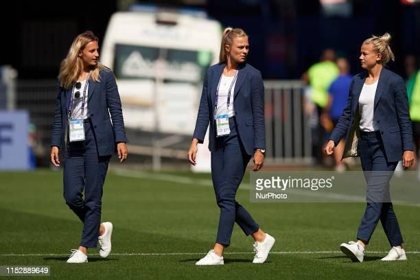 Nathalie Bjorn and Fridolina Rolfo of Sweden before the 2019 FIFA Women's World Cup France Quarter Final match between Germany and Sweden at Roazhon...