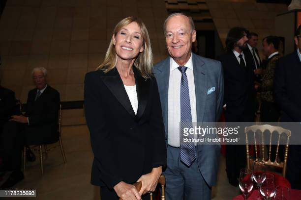 Nathalie Bloch Laine and Karim Aga Khan attend the Societe Des Amis Du Musee D'Orsay Dinner Party Hosted By Countess Jacqueline De Ribes on September...