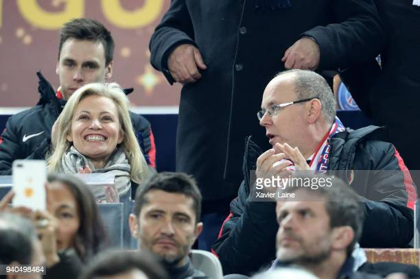 Nathalie Boy de la Tour and Prince of Monaco Albert II the League Cup Final match between Paris SaintGermain and AS Monaco at Matmut Arena on March...
