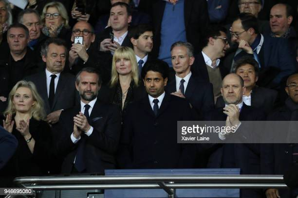 Nathalie Boy de la Tour Michel Denisot JeanClaude Blanc Nasser AlKhelaifi and Antero Henrique attend the Ligue 1 match between Paris Saint Germain...