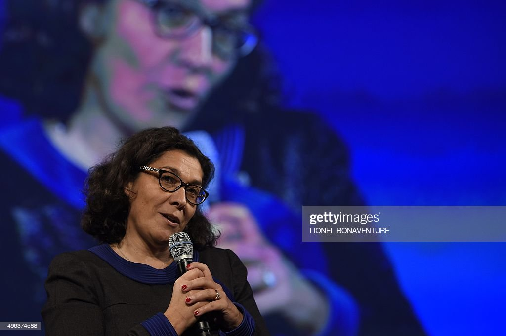 Nathalie Collin General Director Of La Poste Gives A Speech During A