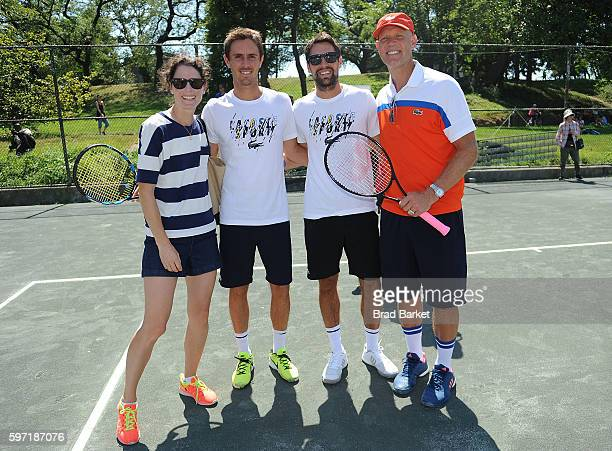 Nathalie Dechy Jeremy Chardy and Murphy Jensen attend LACOSTE And City Parks Foundation Host Tennis Clinic In Central Park at Central Park Tennis...
