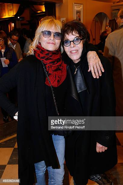 Nathalie Delon and Singer Dani attend the 'FlashBack' Photographer Jean Marie Perier's One Man Show at Theatre de la Michodiere on October 19 2015 in...