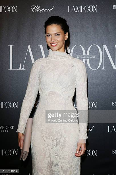 Nathalie Dompé in Luisa Beccaria attends #THE ROYAL PUNK Party By Lampoon on February 23 2016 in Milan Italy