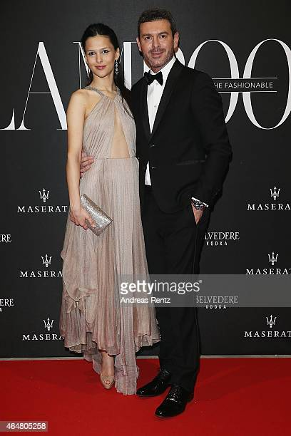 Nathalie Dompe and Marco Achilli attend the 'The Misia Ball' Lampoon Launch Party during the Milan Fashion Week Autumn/Winter 2015 on February 28...