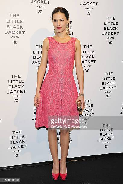 Nathalie Dompe attends Chanel The Little Black Jacket Karl Lagerfeld Photography Exhibition Dinner Party on April 4 2013 in Milan Italy