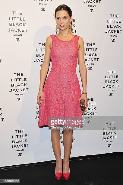 Nathalie Dompe attends Chanel The Little Black Jacket - Karl Lagerfeld Photography Exhibition Dinner Party on April 4, 2013 in Milan, Italy.