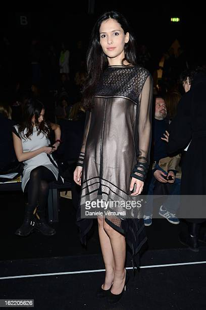 Nathalie Dompe attends the Alberta Ferretti fashion show as part of Milan Fashion Week Womenswear Fall/Winter 2013/14 on February 20, 2013 in Milan,...