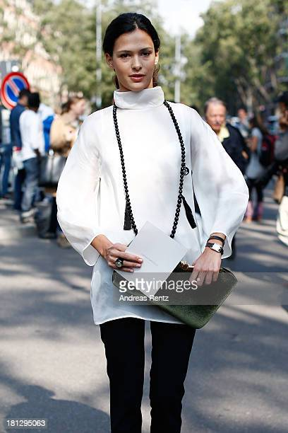 Nathalie Dompe attends the Emporio Armani show as a part of Milan Fashion Week Womenswear Spring/Summer 2014 on September 20 2013 in Milan Italy