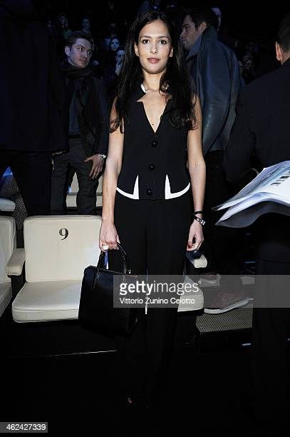 Nathalie Dompe attends the Emporio Armani show as a part of Milan Fashion Week Menswear Autumn/Winter 2014 on January 13 2014 in Milan Italy