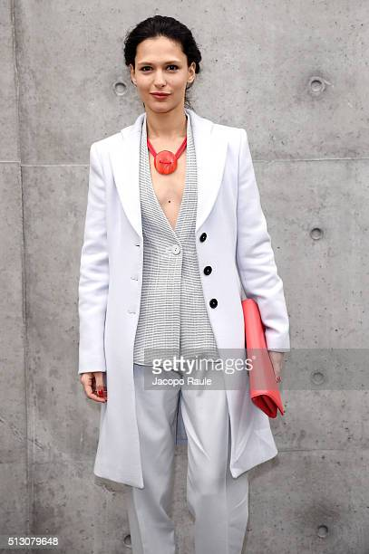 Nathalie Dompe attends the Giorgio Armani show during Milan Fashion Week Fall/Winter 2016/17 on February 29 2016 in Milan Italy