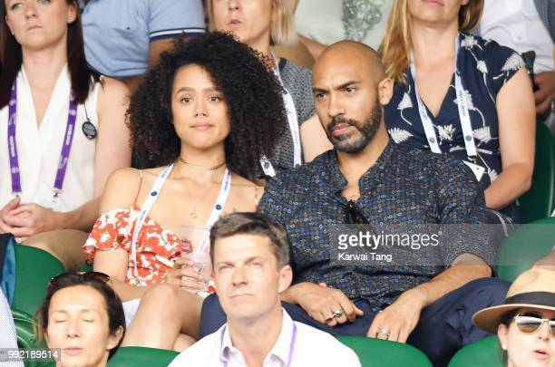 Nathalie Emmanuel and Alex Lanipekun attend day four of the Wimbledon Tennis Championships at the All England Lawn Tennis and Croquet Club on July 2...