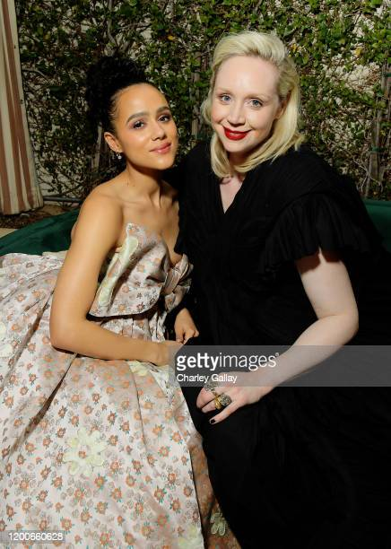 Nathalie Emmanuel and Gwendoline Christie attend 2020 Netflix SAG After Party at Sunset Tower on January 19, 2020 in Los Angeles, California.