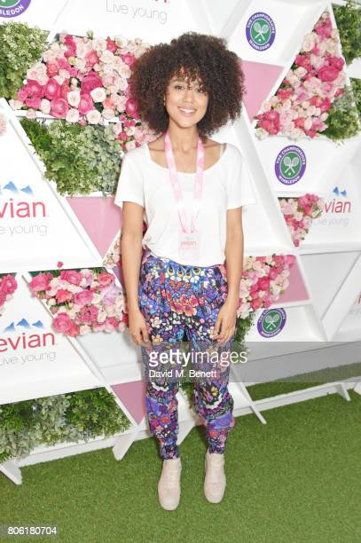 Nathalie Emmanuel attends the evian Live Young suite during Wimbledon 2017 at the All England Tennis and Croquet Club on July 3 2017 in London England