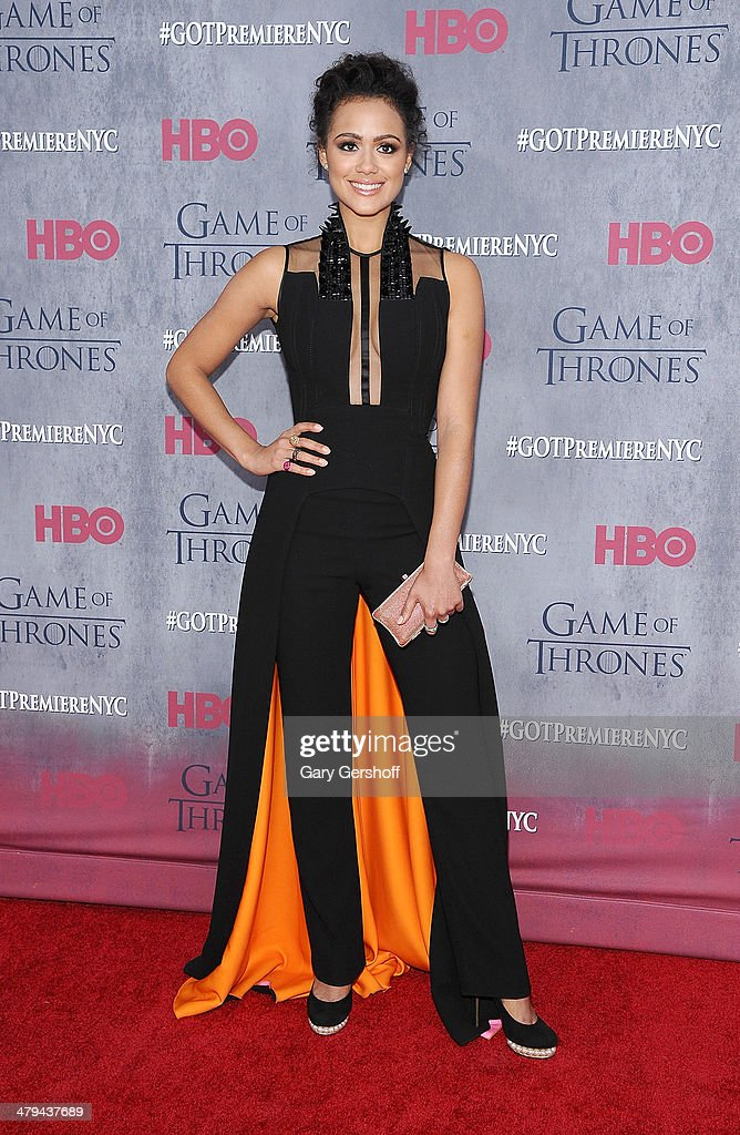 Nathalie Emmanuel attends the 'Game Of Thrones' Season 4 premiere at Avery Fisher Hall, Lincoln Center on March 18, 2014 in New York City.
