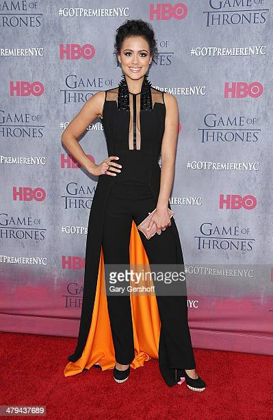 Nathalie Emmanuel attends the 'Game Of Thrones' Season 4 premiere at Avery Fisher Hall Lincoln Center on March 18 2014 in New York City