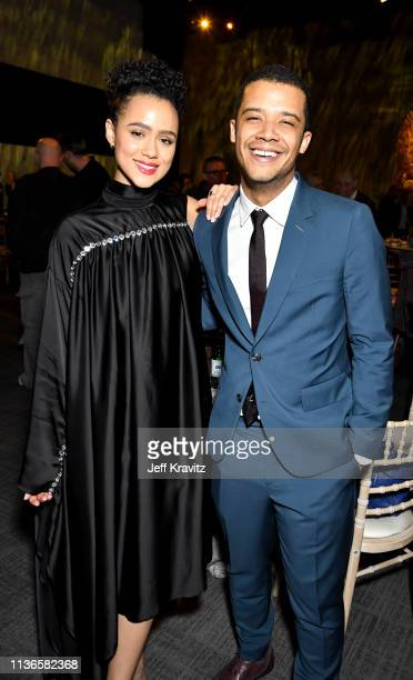 Nathalie Emmanuel Jacob Anderson at the Game of Thrones season finale premiere at the Waterfront Hall on April 12 2019 in Belfast Northern Ireland