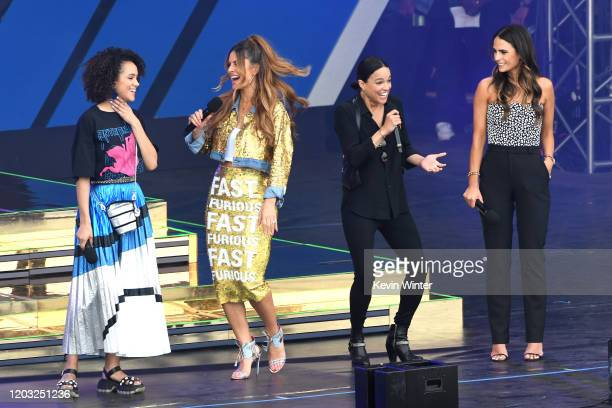 Nathalie Emmanuel Maria Menounos Michelle Rodriguez and Jordana Brewster speak onstage during Universal Pictures Presents The Road To F9 Concert and...