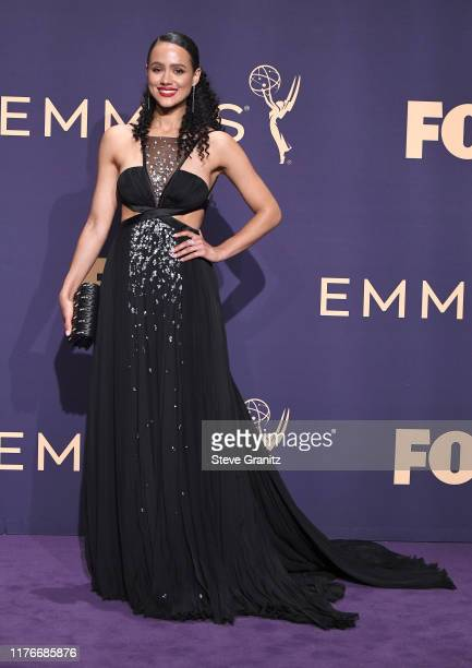Nathalie Emmanuel poses at the 71st Emmy Awards at Microsoft Theater on September 22, 2019 in Los Angeles, California.
