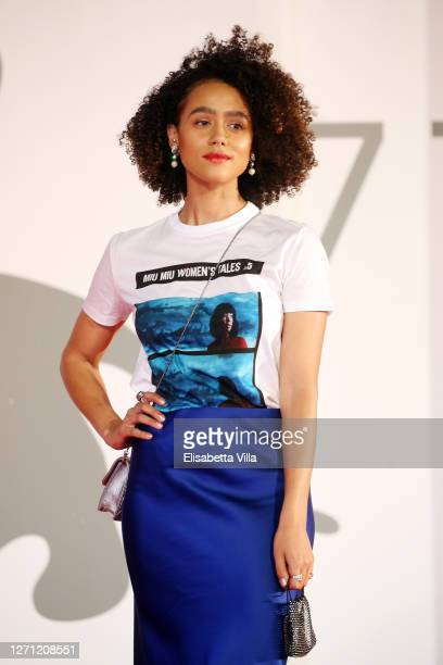 "Nathalie Emmanuel walks the red carpet ahead of the movie ""Revenge Room"" at the 77th Venice Film Festival on September 07, 2020 in Venice, Italy."