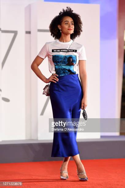 """Nathalie Emmanuel walks the red carpet ahead of the movie """"Revenge Room"""" at the 77th Venice Film Festival on September 07, 2020 in Venice, Italy."""