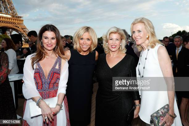Nathalie Folloroux, Brigitte Macron, Dominique Ouattara and Melissa Bouygues attend Line Renaud's 90th Anniversary on July 2, 2018 in Paris, France.