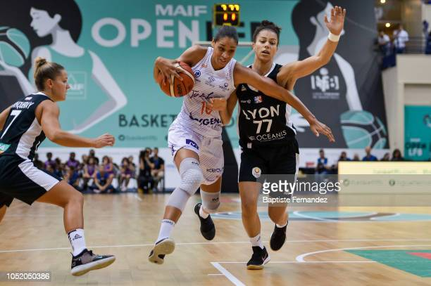 Nathalie Fontaine of Tarbes and Alysha Clark of Lyon during the Women's League match between Tarbes Gespe Bigorre and Lyon ASVEL of the LFB Open 2018...