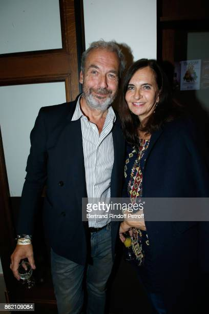 Nathalie Garcon and her husband JeanMarie Duprez attend the One Woman Show by Christelle Chollet for the Inauguration of the Theatre de la Tour...