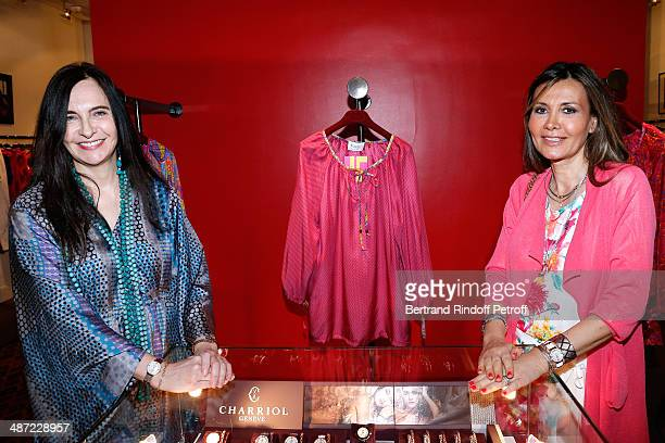 Nathalie Garcon and MarieOlga Charriol attend the 'Charriol' Ephemeral Boutique opening hosted by Nathalie Garcon at Nathalie Garcon store Galerie...
