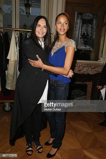 Nathalie Garcon and Noemi Lenoir attend the Nathalie Garcon Cocktail Party In Paris on October 13 2014 in Paris France