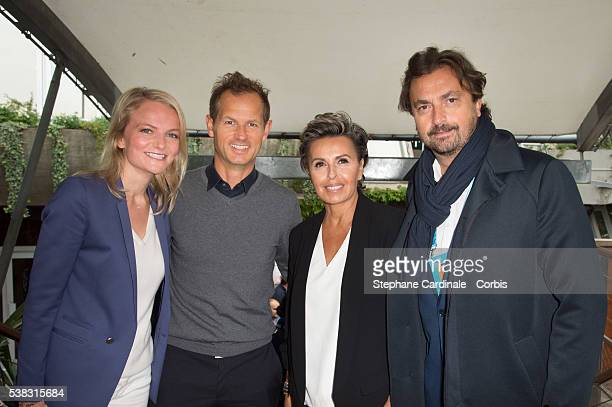 Nathalie Grospiron Edgar Grospiron Maria Dowlatshahi and Henri Leconte attend the French Tennis Open Day Fifteen with the Final between Novak...