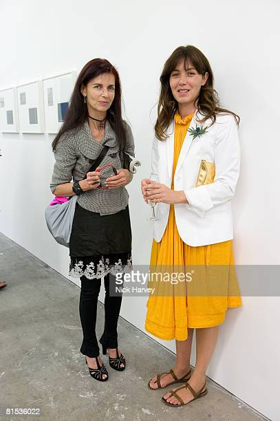 Nathalie Hambro and Marine Hugonnier attend Marine Hugonnier's 'The Secretary of the Invisible' exhibition private view at the Max Wigram Gallery 28...