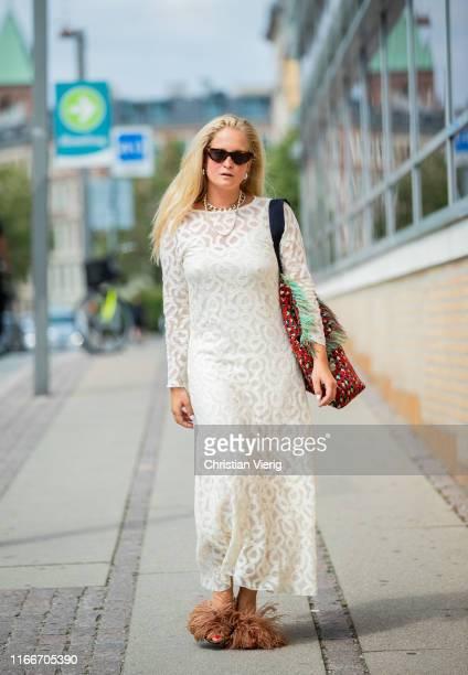 Nathalie Helgerud is seen outside Holzweiler during Copenhagen Fashion Week Spring/Summer 2020 on August 07, 2019 in Copenhagen, Denmark.