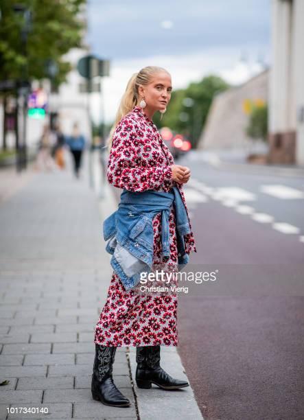Nathalie Helgerud wearing dress denim jacket seen outside FWSS during Oslo Runway SS19 on August 15 2018 in Oslo Norway