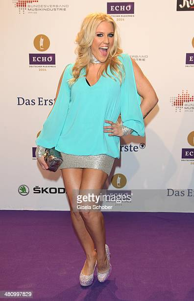 Nathalie Horler Cascada poses on the red carpet prior the Echo award 2014 at Messe Berlin on March 27 2014 in Berlin Germany