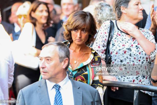 Nathalie Ianetta is seen at the burial of Pierre Camou in Saint Jean Pied de Port during the Funeral of former rugby player Pierre Camou on August 18...
