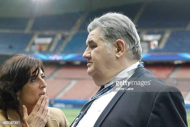 Nathalie Iannetta and Pierre Menes attend the UEFA Champions League Quatrer Finale between Paris SaintGermain FC and Chelsea FC at Parc Des Princes...