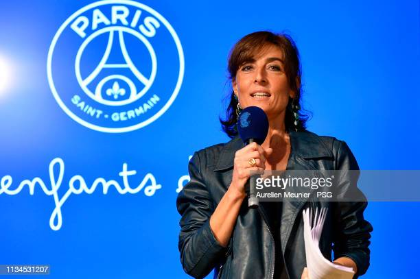 Nathalie Iannetta gives a speech during the international Women's day at Parc des Princes on March 08 2019 in Paris France
