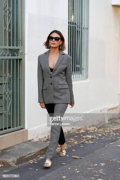 Nathalie Kelley wearing MNZ suit and sandals on May 29 2018 in Sydney Australia