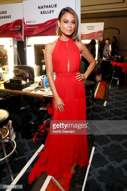 Nathalie Kelly poses backstage during The American Heart Association's Go Red for Women Red Dress Collection 2019 at Hammerstein Ballroom on February...