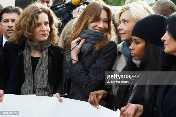 Nathalie Kosciusko Morizet Carla Bruni Sarkozy Valerie Pecresse and Mia Frye participate to the demonstration in support for kidnapped Nigerian...