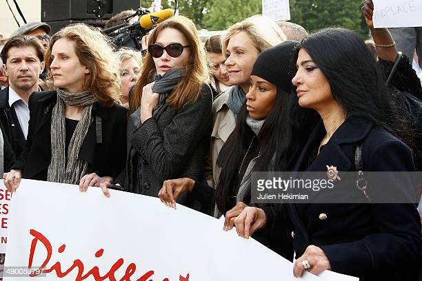 Nathalie Kosciusko Morizet Carla Bruni Sarkozy Valerie Pecresse Mia Frye and guest participate to the demonstration in support for kidnapped Nigerian...
