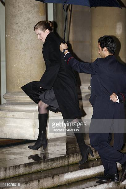 Nathalie KosciuskoMorizet arriving for a dinner at the Elysee Palace in Orly France on December 10th 2007