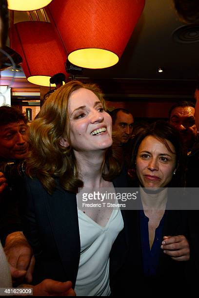Nathalie KosciuskoMorizet French rightwing opposition Union for a Popular Movement candidate for the mayoral election in Paris greets supporters...