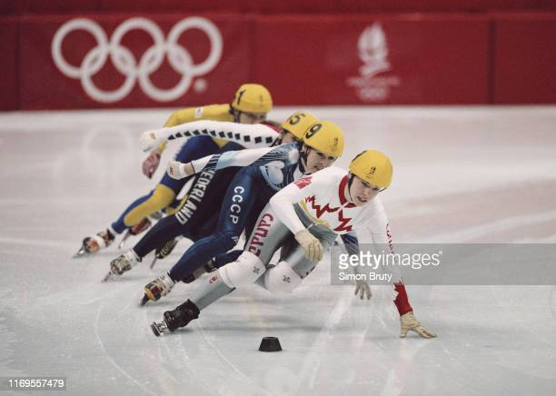 Nathalie Lambert of Canada leads the Women's 3,000 metres Short Track Speed Skating relay competition on 20th February 1992 during the XVII Olympic...