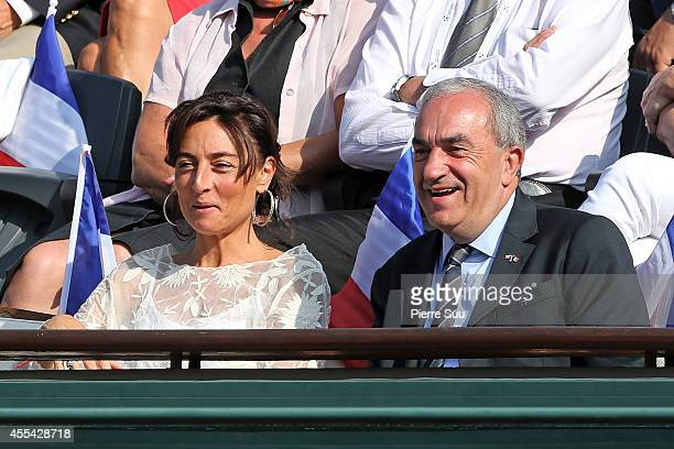 Nathalie Lannetta and Jean Gachassin attend the Davis Cup Semifinal France vs Czech Republic at Roland Garros on September 14 2014 in Paris France